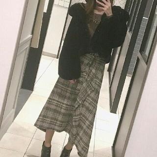 Mila Owen - ミラオーウェン ヘムラインツイードスカート  ベージュ