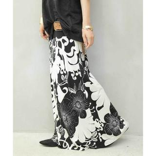 【antiqua】2way 花柄 ロング スカート ブラックベース【アンティカ】