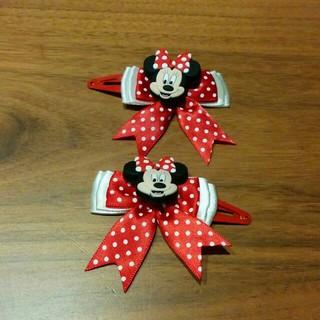 Disney - ミニーマウス リボン ヘアピン 2個セット
