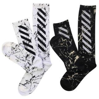 靴下 ホワイト ロングソックス  オフホワイト ストリート 海外 人気 流行(ソックス)