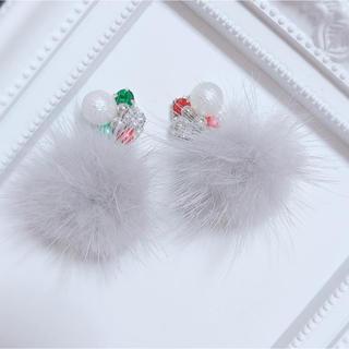 【NKさま】クリスマスカラービジュー×ミンクファー★ピアス/イヤリング(イヤリング)