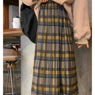 1212 【新品♡値下げ商品】 チェック柄 ミモレ丈 プリーツスカート フレア(ロングスカート)