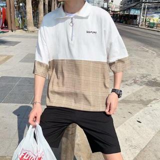 バイカラー チェックシャツ 切り替えシャツ 韓国ファッション m65(シャツ)