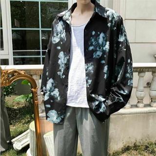 花柄シャツ オーバーサイズ バラ柄 メンズ モード y22(シャツ)