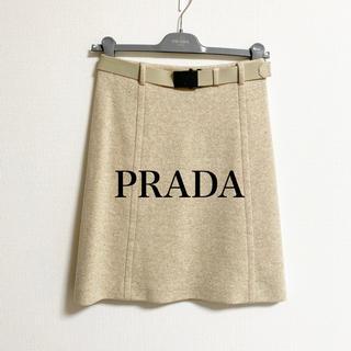 プラダ(PRADA)の【PRADA】バージンウール ゴムベルト付スカート(ひざ丈スカート)