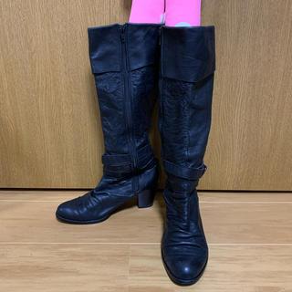 ロングブーツ 黒 22.5(ブーツ)