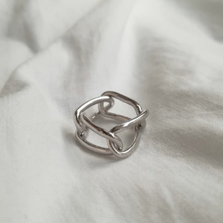 【NEW】925 square chain ring