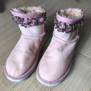 ムートンブーツ ピンク ビジュー(ブーツ)