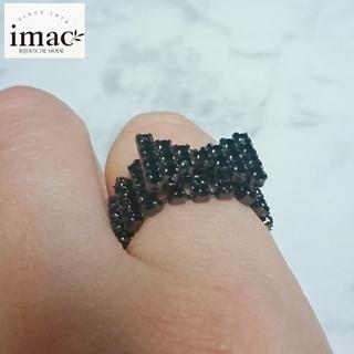 【新品】imac イマック ビジューラインリボンリング 指輪 ブラック(リング(指輪))