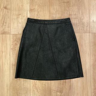ザラ(ZARA)のZARA ザラ レザースカート 黒 ブラック XS(ひざ丈スカート)