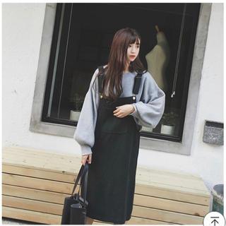 レディース カジュアルワンピース 韓国ファッション ブラック(ひざ丈ワンピース)