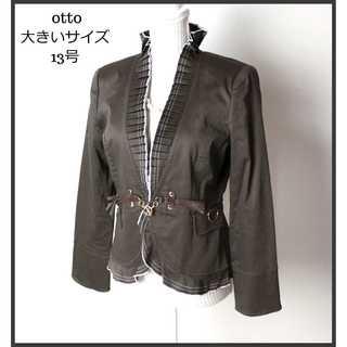 オットー★フリル襟 テーラードジャケット 13号(XL)カーキブラウン 春秋(テーラードジャケット)
