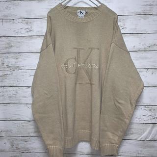 Calvin Klein - 古着男女必見!!calvin klein オーバーサイズニット セーター 刺繍!