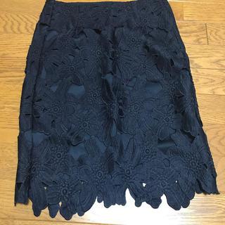 ジーユー(GU)のGU♡ネイビーレースタイトスカート♡(ひざ丈スカート)