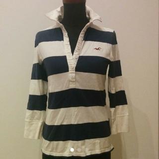 ホリスター(Hollister)のHollister ホリスター ポロシャツ ラガーシャツ 7分袖 ボーダー 白(Tシャツ(長袖/七分))