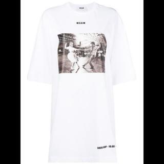 エムエスジイエム(MSGM)のMSGM Tシャツ ワンピース フォトグラフィックプリント ホワイト 白(Tシャツ(長袖/七分))