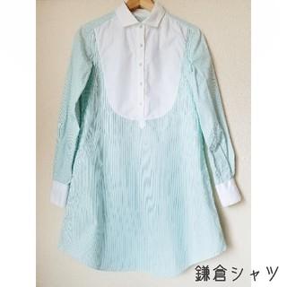 鎌倉シャツ ストライプ ロングシャツ ワンピース(ひざ丈ワンピース)