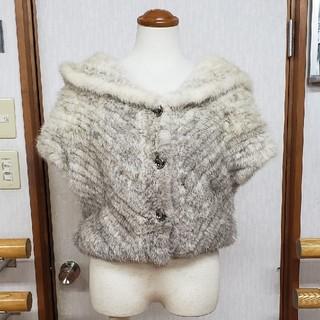 ケービーエフ(KBF)の大幅値下げKBFミンクボレロ風ジャケットホワイトミンク×サファイアミンク(毛皮/ファーコート)