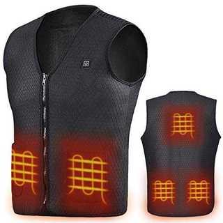 ブラック(ベストのみ)2XL電熱 ベスト 5つヒーター ホットベスト 電熱ジャケ