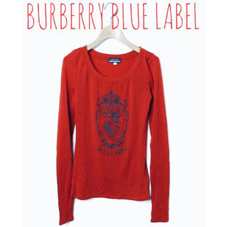 BURBERRY BLUE LABEL - BURBERRY BLUE LABEL【美品】ロゴ プリント 長袖 カットソー