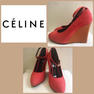 celine - CELINE レッドスエード ウエッジパンプス