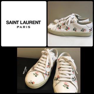 サンローラン(Saint Laurent)の美品 サンローラン ホワイトレザー  フラワースニーカー(スニーカー)