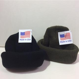 ロスコ(ROTHCO)のロスコニット帽 ブラック&オリーブ 新品(ニット帽/ビーニー)