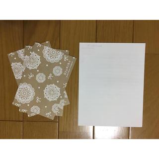 便箋と封筒のレターセット リボン 茶系ベージュ(カード/レター/ラッピング)