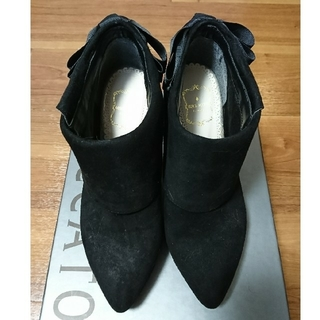 ミッシュマッシュ(MISCH MASCH)のミッシュマッシュ リボン☆ショートブーツ 黒 Lサイズ(ブーツ)