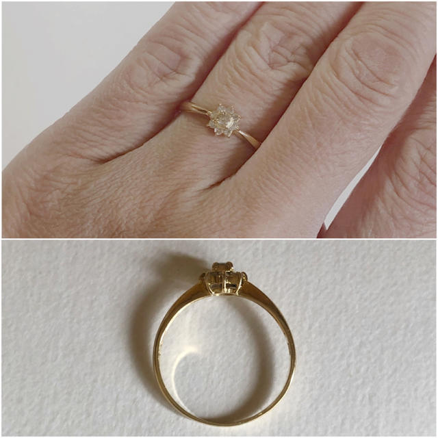 k18 天然ダイヤモンド 0.15ct  リング レディースのアクセサリー(リング(指輪))の商品写真