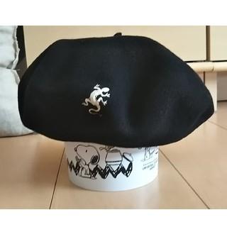 アニエスベー(agnes b.)のアニエスb☆ベレー帽◼️黒☆トカゲ刺繍◼️フランス製(ハンチング/ベレー帽)