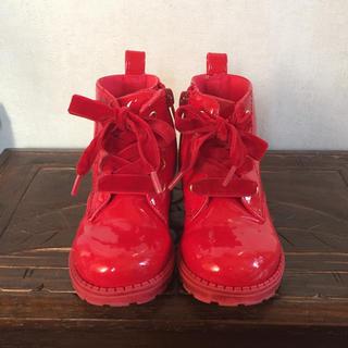 エイチアンドエム(H&M)のエイチ アンド エム 赤のエナメルブーツ 14.5(ブーツ)