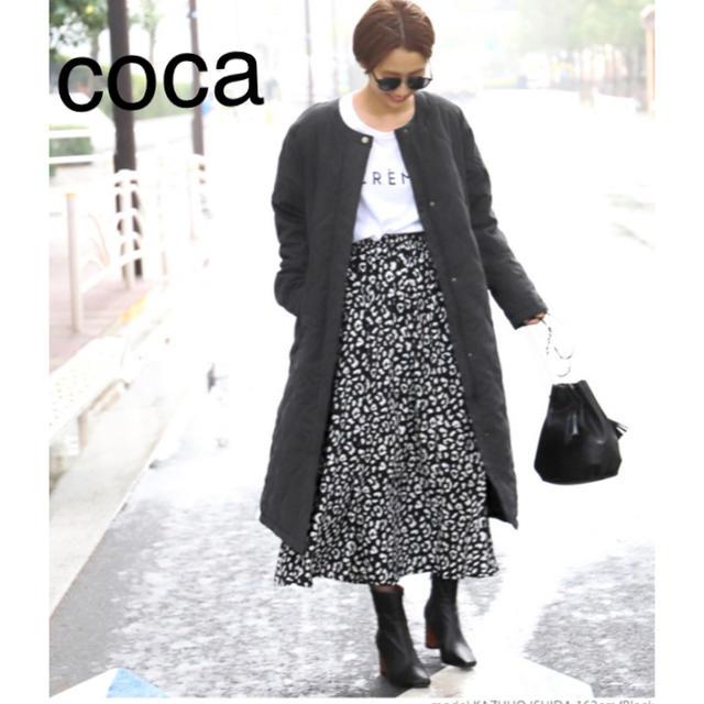 Mila Owen(ミラオーウェン)のcoca キルティングノーカラーロングコート ブラック fifth  reca レディースのジャケット/アウター(ロングコート)の商品写真