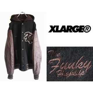 エクストララージ(XLARGE)のXLARGE 袖レザー フード付きスタジャン XL ワイドシルエット(スタジャン)