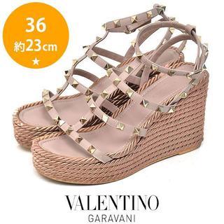 VALENTINO - ヴァレンティノ ロックスタッズ ウェッジソール サンダル 36(約23cm)