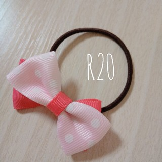 【R20】2色リボンヘアゴム パステルピンクドット×ピンク