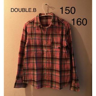 ダブルビー(DOUBLE.B)のミキハウス ダブルB ★ リバーシブル チェックシャツ 150 160 ピンク(ブラウス)