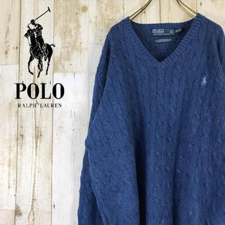 POLO RALPH LAUREN - ポロ ラルフローレン シルク ニット セーター ワンポイント ブルー