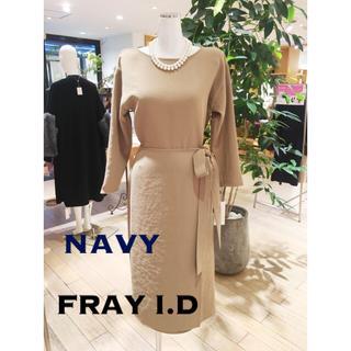 FRAY I.D - FRAY I.D ラップデザイン ワンピース 膝丈 ネイビー
