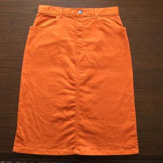 W64 スカート オレンジ(ひざ丈スカート)