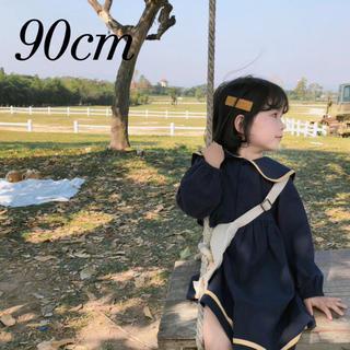 プティマイン(petit main)の新品  韓国子供服 セーラーワンピース ワンピース セーラー カラー 90(ワンピース)