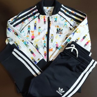 adidas - 110cm adidas キッズ ジャージ上下セット ホワイト×ブラック
