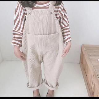 韓国子供服 コーデュロイ サロペット ベージュ 90 95