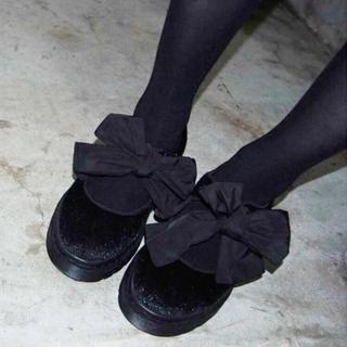 メリージェニー(merry jenny)のmerryjenny ハラコライクbigリボンシューズ(ローファー/革靴)