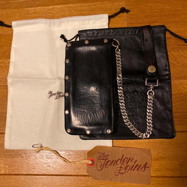 TENDERLOIN(テンダーロイン)の絶版! TENDERLOIN コードバン 長財布 ウォレット チェーン ブラック メンズのファッション小物(長財布)の商品写真