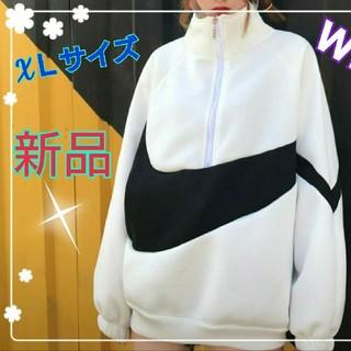 《sale》XLサイズパーカー  ハイネック ビッグ ロゴ 韓国【ホワイト】