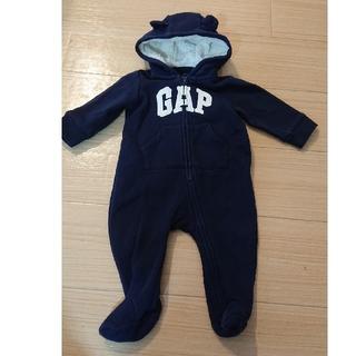 babyGAP - GAP カバーオール 足カバー付き 耳付き 紺 ボア 裏起毛 3-6months