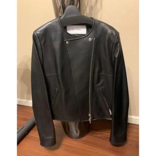 ルシェルブルー(LE CIEL BLEU)のルシェルブルー レザージャケット ライダース 美品 36 ブラック(ノーカラージャケット)