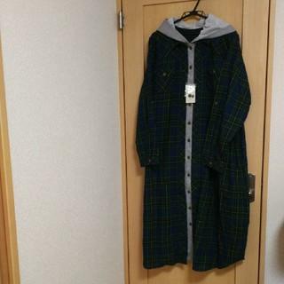ニッセン(ニッセン)の新品ロングワンピース シャツ ジャケット チェック  6L  大きいサイズ(ロングワンピース/マキシワンピース)