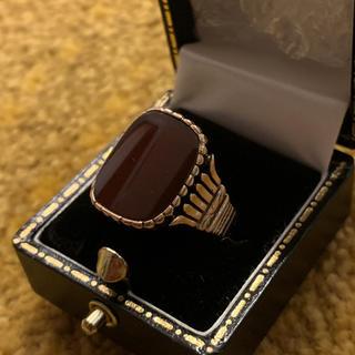 【セール】14k 金 カーネリアン アンティークリング 指輪 イエローゴールド(リング(指輪))